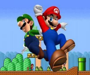 Puzle Mario e seu irmão Luigi, os mais famosos encanadores