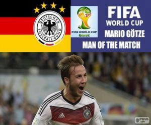 Puzle Mario Götze, melhor jogador da final. Copa do mundo de futebol Brasil 2014
