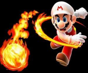 Puzle Mario jogando uma bola de fogo
