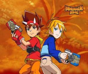 Puzle Max e Rex, dois dos protagonistas em Dinossauro Rei, Dinosaur King
