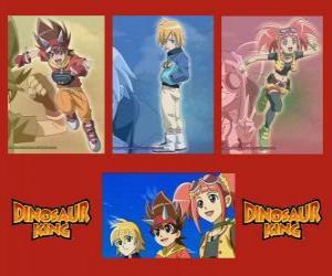 Puzle Max, Rex e Zoe, os especialistas em dinossauros e os protagonistas da série Dinosaur King ou Dinossauro Rei