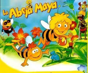 Puzle Maya the Bee e seu amigo Willi sob o olhar de Flip e outros personagens