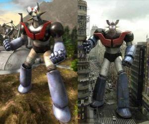 Puzle Mazinger Z, em duas imagens no campo e outro na cidade