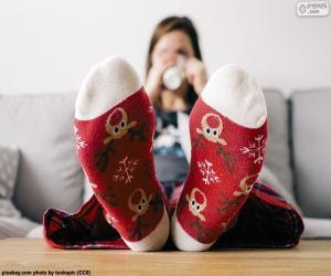 Puzle Meias com rena de Natal