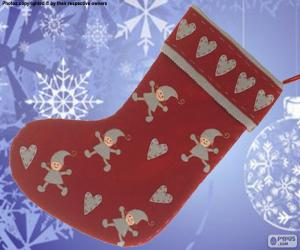 Puzle Meias de Natal decorada com os elfos e os corações
