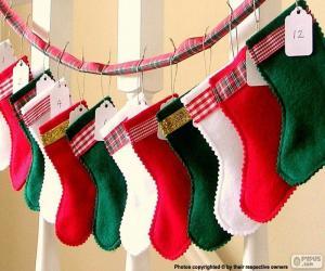 Puzle Meias de Natal em várias cores