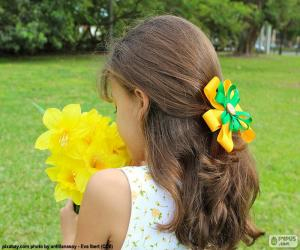 Puzle Menina com flores