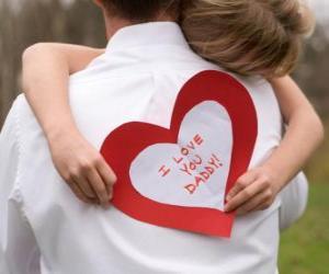 Puzle Menina felicitando seu pai com um abraço e um coração de papel