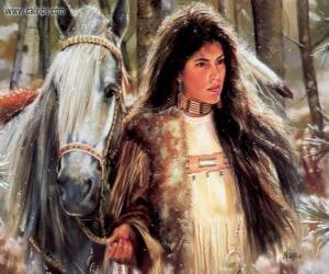 Puzle Menina indiana com seu cavalo