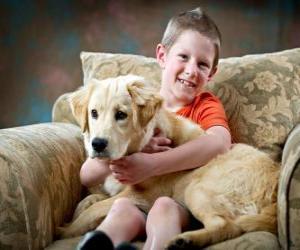 Puzle Menino com seu cachorro
