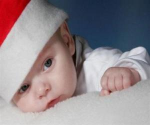 Puzle Menino com um chapéu de Santa Claus