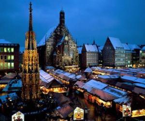 Puzle Mercado de Natal de Nuremberga, Baviera, Alemanha