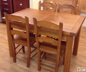 Puzle Mesa de jantar de madeira