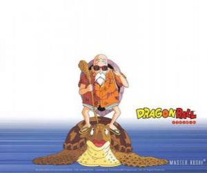 Puzle Mestre Kame, Tartaruga Genial, Muten Roshi ou Kame Sennin, o velho mestre das artes marciais que treina Goku e Krillin