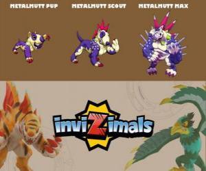 Puzle Metalmutt em três fases Metalmutt Pup, Metalmutt Scott e Metalmutt Max, Invizimals