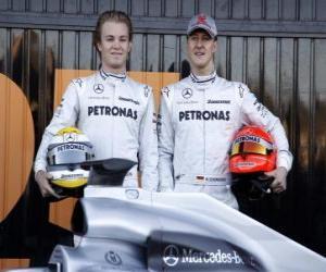 Puzle Michael Schumacher e Nico Rosberg, pilotos da Scuderia Mercedes GP