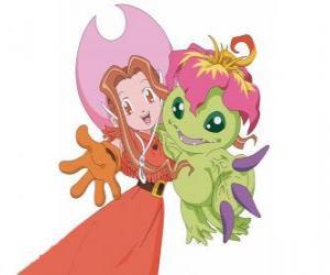 Puzle Mimi com o seu Digimon Palmon, Mimi Tachikawa tem o emblema da pureza ou inocência