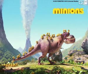 Puzle Minions com o dinossauro