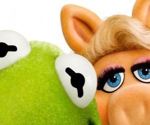 Puzle Miss Piggy e Caco, o Sapo