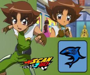 Puzle Mitsuki Kaibara de Scan2Go, o poder de tubarão dá a ele uma grande frieza e crueldade também durante a competição