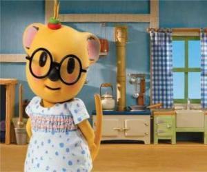 Puzle Mitzi o gambá com um lindo vestido
