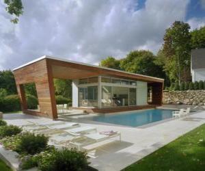 Puzle Moderna casa de família com piscina