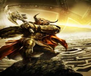 Puzle Monitauro - Monstro gigante com corpo humano e cabeça de touro como um guerreiro armado
