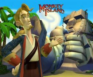 Puzle Monkey Island, um vídeo game de aventura. Guybrush Threepwood, um grande jogador