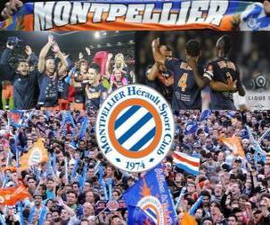 Puzle Montpellier Hérault Sport Club, campeão da Liga de futebol francês, Ligue 1, 2011-2012