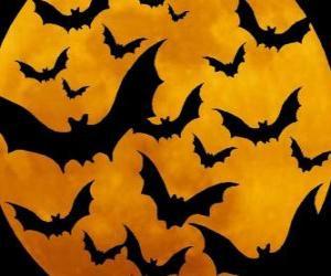 Puzle Morcegos para a celebração do Halloween