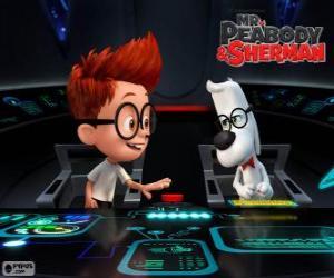 Puzle Mr. Peabody e Sherman em sua máquina do tempo