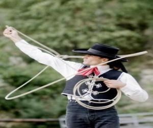 Puzle Mulher cowboy jogando o lasso