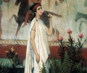 Puzle Mulher grega com a sua túnica ou quíton
