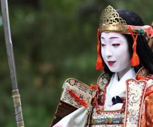 Puzle Mulher samurai, mulher guerreira com katana