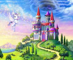 Puzle My Little Pony voando perto de um castelo