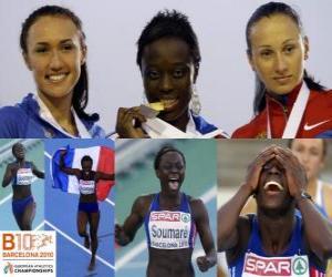 Puzle Myriam campeão Soumaré em 200 m, e Alexandra Bryzhina Yelizabeta Fedora (2 e 3) do Campeonato Europeu de Atletismo de Barcelona 2010