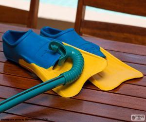 Puzle Nadadeiras snorkel e mergulho