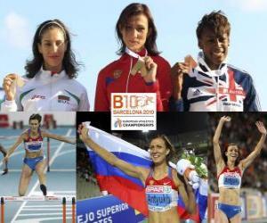 Puzle Natalia Antiuj campeão 400m com barreiras, Vania Stambolova e Perri Shakes-Drayton (2 e 3) do Campeonato Europeu de Atletismo de Barcelona 2010