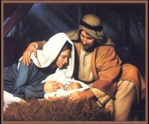 Puzle Natividade - O Menino Jesus com Maria sua mãe e seu pai Jose