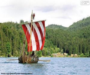 Puzle Navio viking com remadores