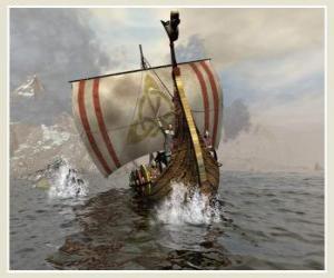 Puzle Navio Viking ou canoa para navegar inchada pelo vento