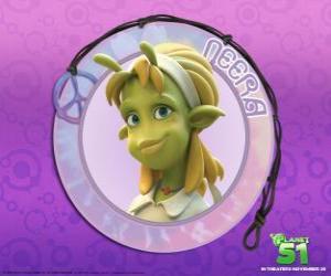 Puzle Neera é a típica menina, inteligente, bonita pele verde com algumas antenas atraente na testa