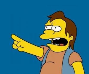 Puzle Nelson Muntz, ocasionalmente, amigo de Bart e de Lisa ex-namorado.