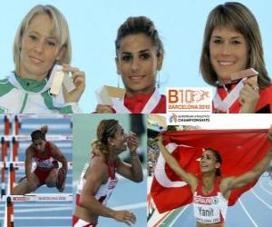 Puzle Nevin Yanit campeão nos 100m com barreiras, Derval O'Rourke e Nytra Carolin (2 e 3) do Campeonato Europeu de Atletismo de Barcelona 2010