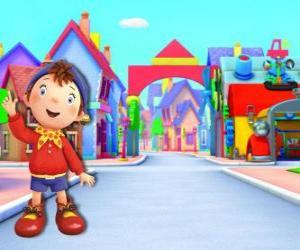 Puzle Noddy é uma criança feita de madeira que vive em uma pequena casa em Toyland, a cidade dos brinquedos