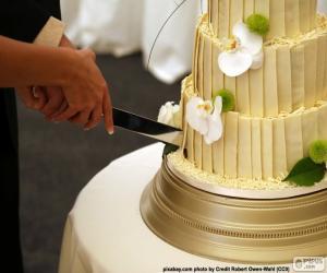 Puzle Noivos cortando o bolo