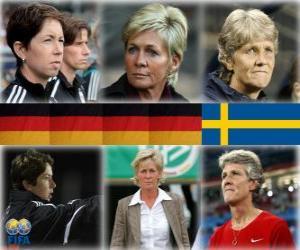 Puzle Nomeados para o treinador da Copa do Mundo de Futebol Feminino do Ano 2010 (Maren Meinert, Silvia Neid, Pia Sundhage)