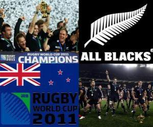 Puzle Nova Zelândia, campeã mundial de rugby. Copa do Mundo de Rugby 2011