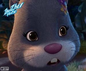 Puzle Numnums, o hamster com um cocar de flores na sua cabeça