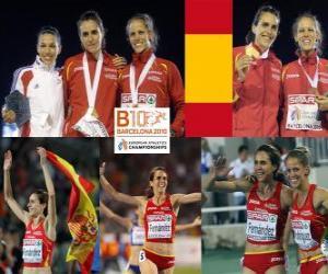 Puzle Nuria Fernandez campeão em 1500 metros, Hind Dehiba e Natalia Rodriguez (2 e 3) no Campeonato Europeu de Atletismo de Barcelona 2010